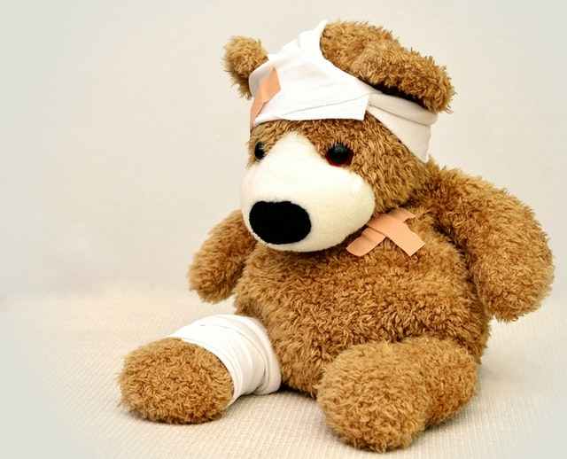 Image, teddy bear with bandages.