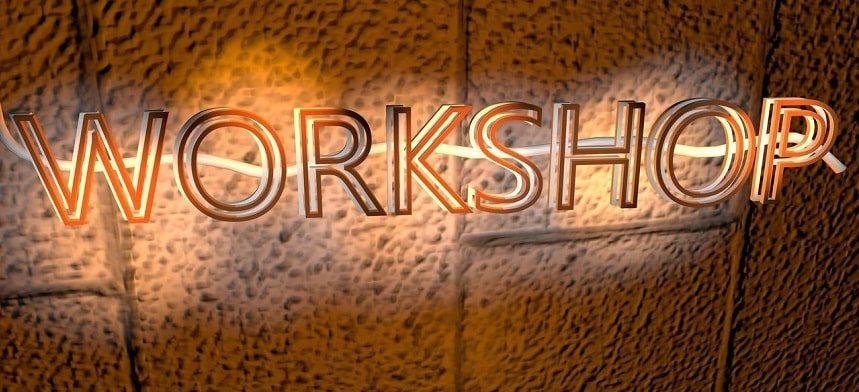 Image, Neon 'Workshop' sign.