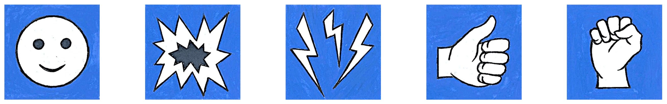 Image, banner of animated icons of a face, an explosion, some lightning bolts, a thumbs up, and a closed fist