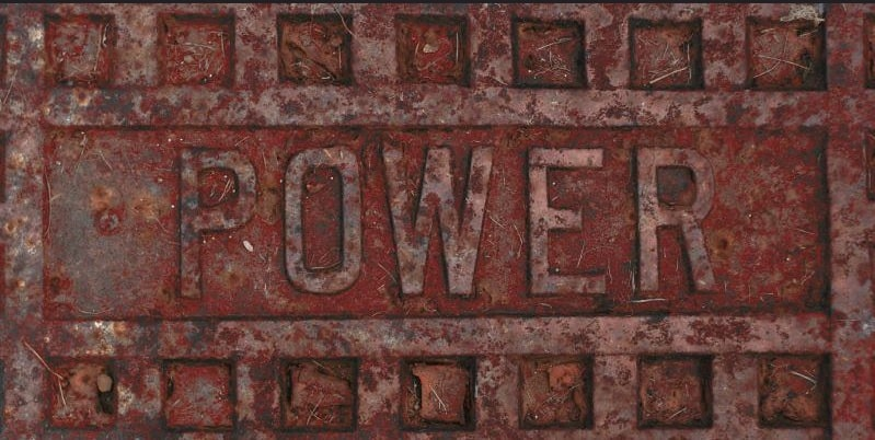 Image, 'power' written in an iron plate