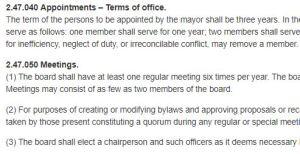 Snip of Municipal Code