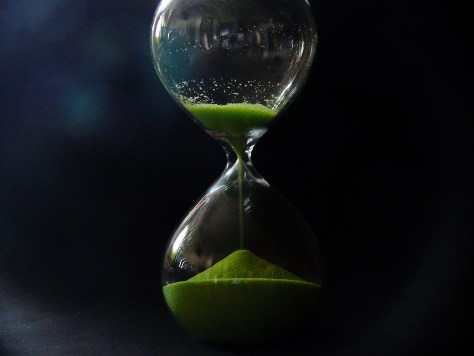 Sand in an hourglass.
