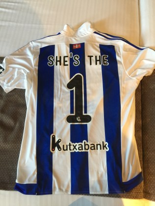 My customized Real Sociedad - the soccer/football team that plays at the stadium - jersey