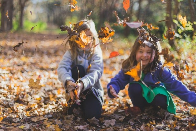 kids jumping in leaves