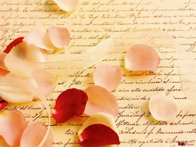 Love letters in right slant