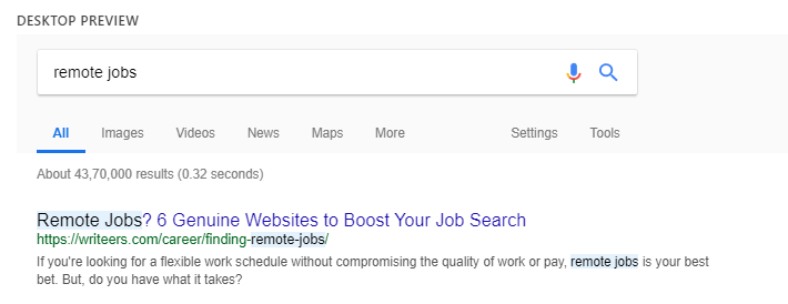 search snippet preview