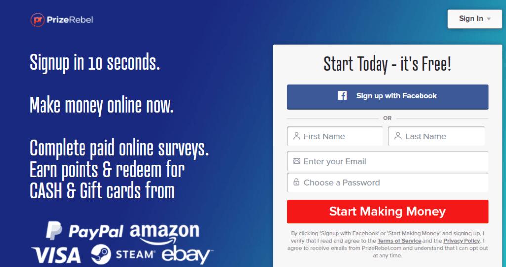 make money online   Prize Rebel