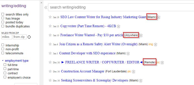 freelance jobs on craigslist | writer jobs