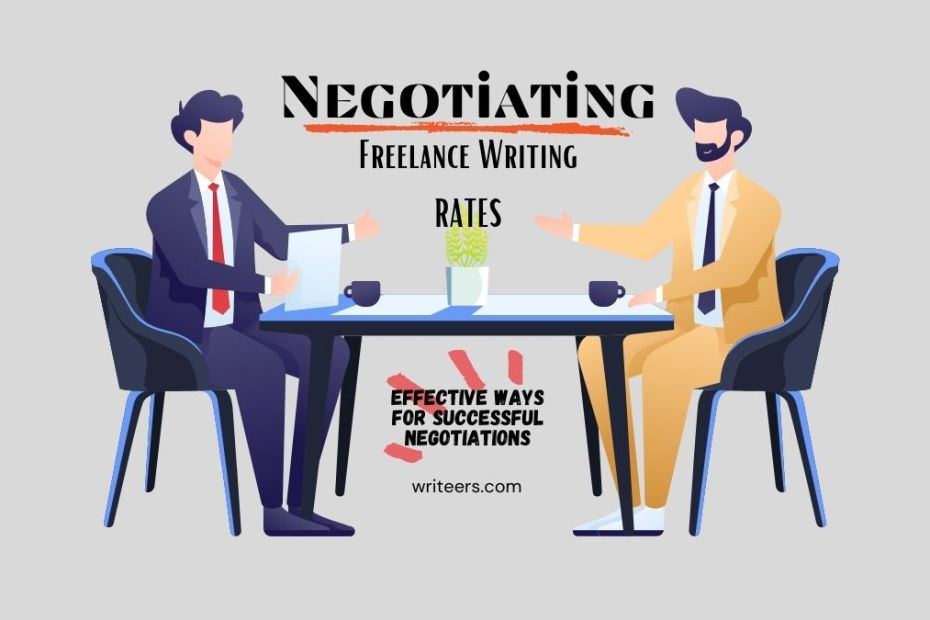two men at a table negotiating freelance writing rate