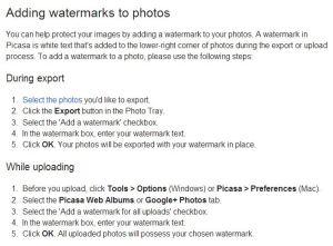 Google - adding Picassa watermarks