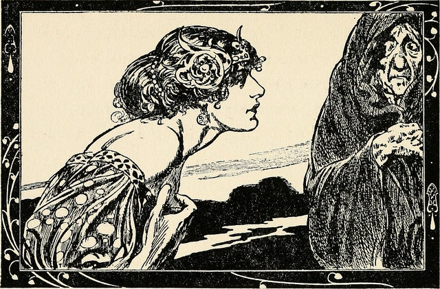 Old book illustration. A worried young woman and a shrivelled old woman look at each other.