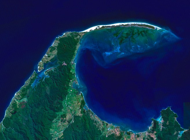 Farewell Spit seen from space: 26 km of dunes curling around Golden Bay