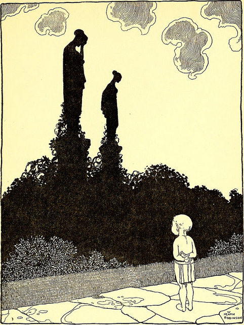 Child contemplates two women turned to stone
