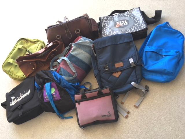 Green cabin bag, denim bag, Doctor bag, vinyl bag, antique Webstock bag and 3 day backpacks