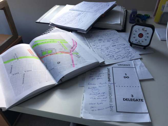 Notebooks, map, timer on a desk
