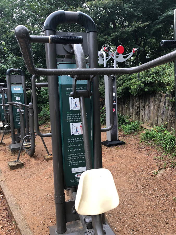 A cosy outdoor gym with the lift-your-own-weight machine in front.