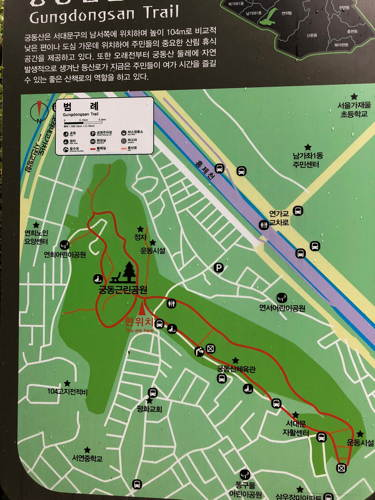 A simple map of Gungdongsan Trail, Seoul