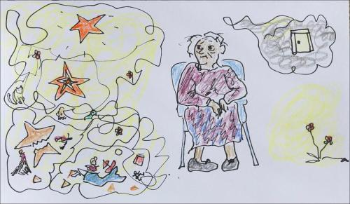 Drawing of old woman in a chair. To the left, a jumble of stars, adventures, people, and previous selves; on the right, a closed door and a flower.