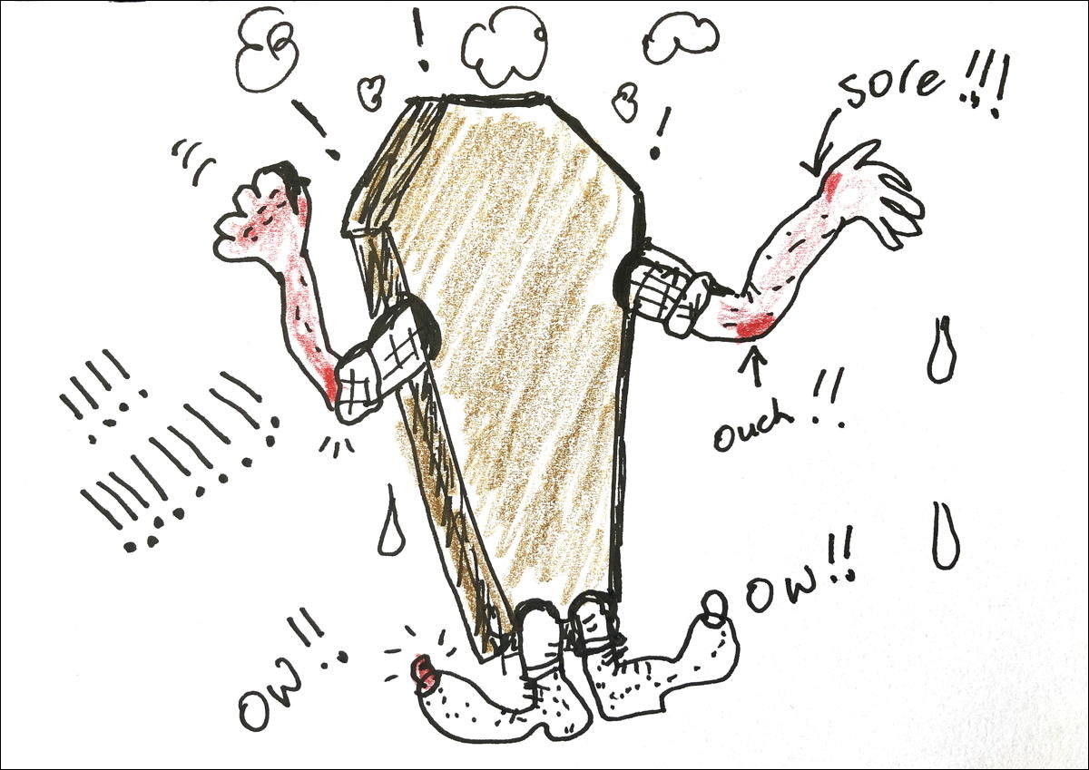Drawing of a live man in a coffin saying Ouch! Ow! Sore!