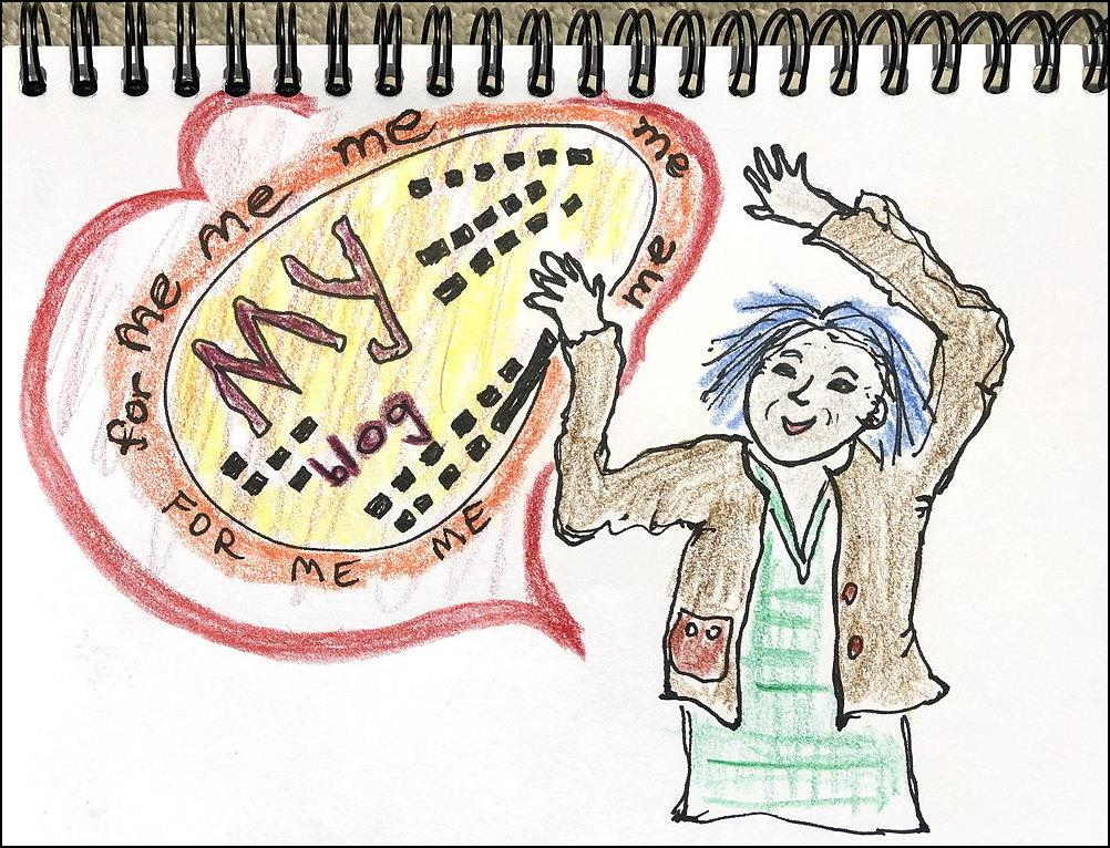 "Older woman celebrating ""My blog for me me me"""
