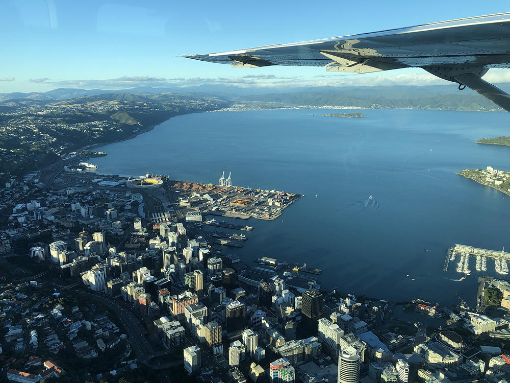 View from a small plane over the city of Wellington, New Zealand