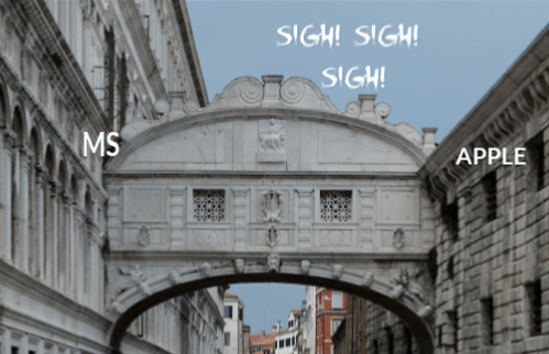 Photo of Bridge of Sighs, Venice. MS printed on the left, APPLE on the right. Sigh! Sigh! Sigh! written in the sky above the bridge.