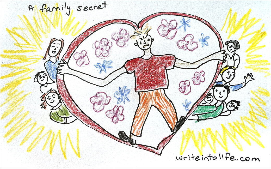Cartoon of woman in a heart-shape shielding her beloved family
