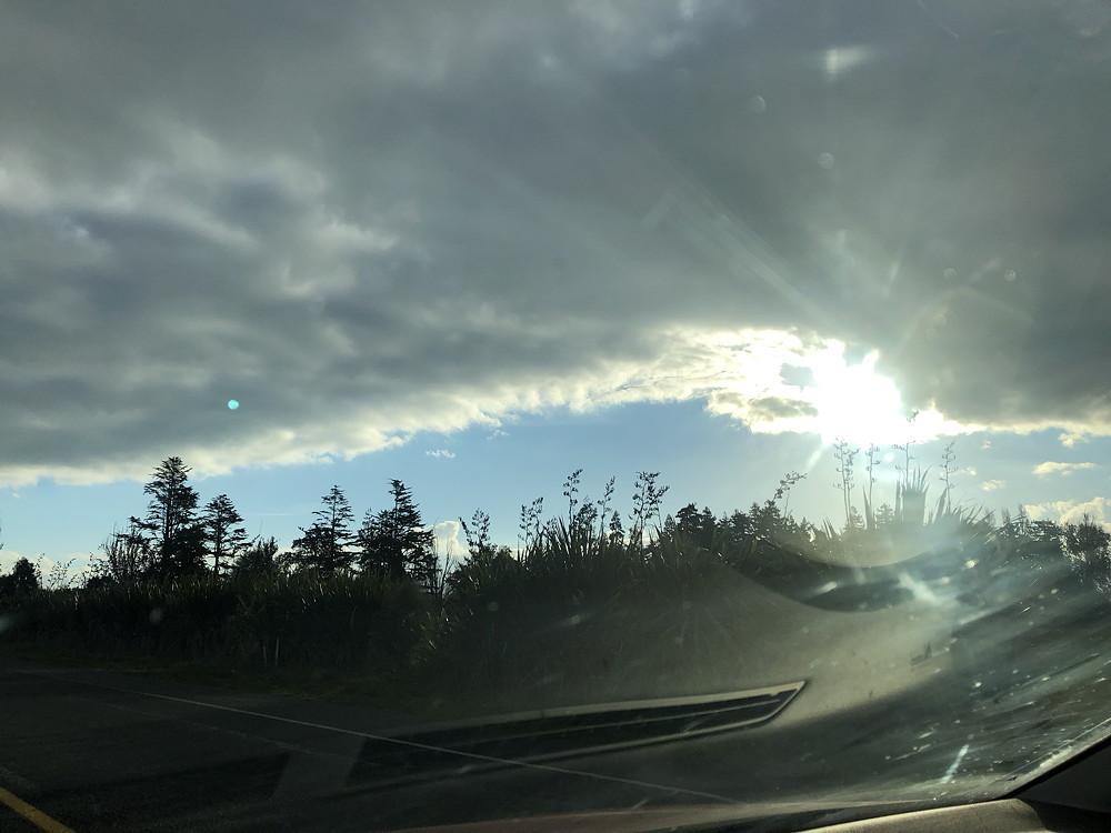 Simultaneous sunburst and sunstrike.