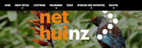 NetHui NZ website and menu: tui on flax. Register