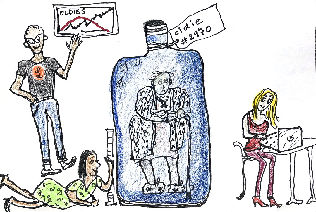 Cartoon of scientists studying an old person in a bottle