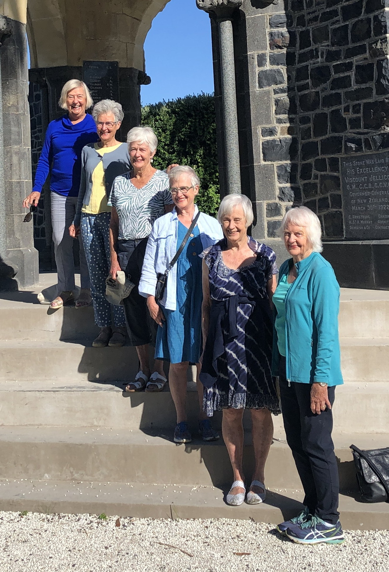 Happiness at 80: 6 sisters line up on steps of Akaroa memorial