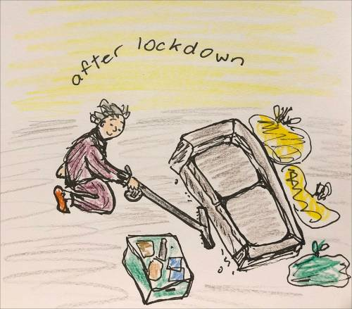 After lockdown: drawing of woman vacuuming under a couch, surrounded by rubbish bags and a box of stuff for welfare store