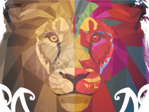Cropped image of multicoloured head of a lion, WOMAD NZ 2020 logo