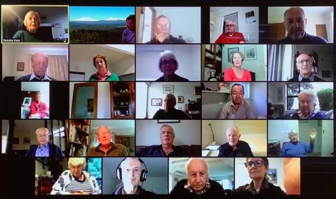 screenshot of 34 older people meeting on Zoom