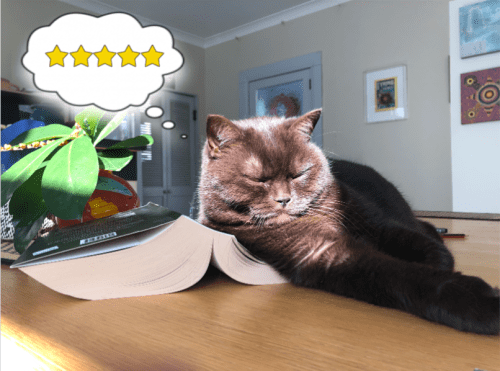 "Photo of cat sleeping on a thick novel, thinking ""5 stars""."