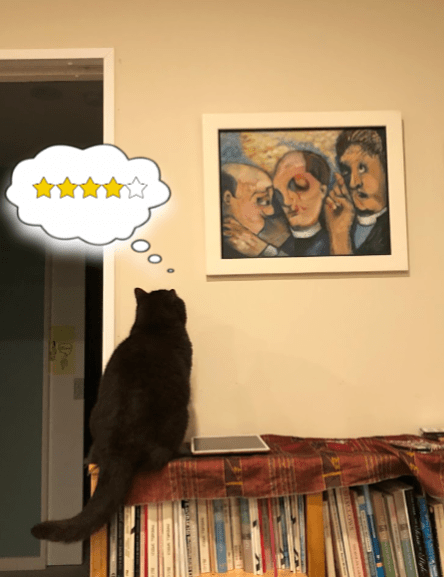 Photo of cat looking at painting of 3 vicars and thinking, 4 stars.