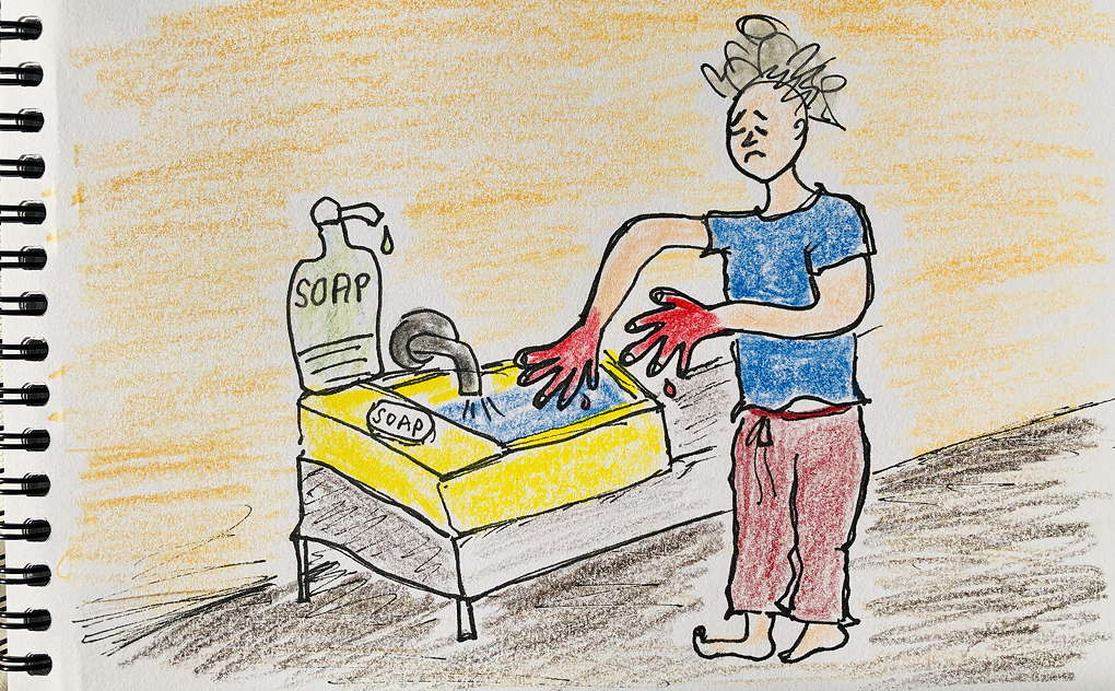 drawing of woman in pyjamas doing extreme hand washing with red and bleeding hands