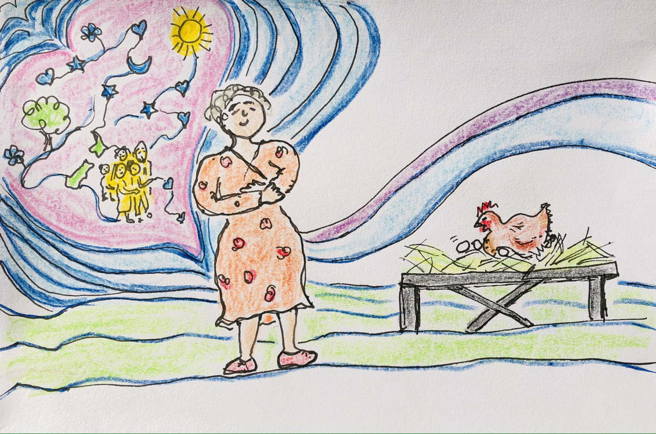 drawing of woman happy with a heartful of stars, family, tree and sun. On the right, hen sits on nest of eggs about to hatch.