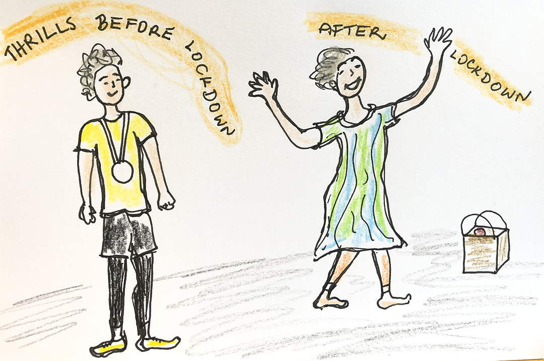drawing of woman with medal: thrills before lockdown, and after lockdown, thrilled by a bag of groceries