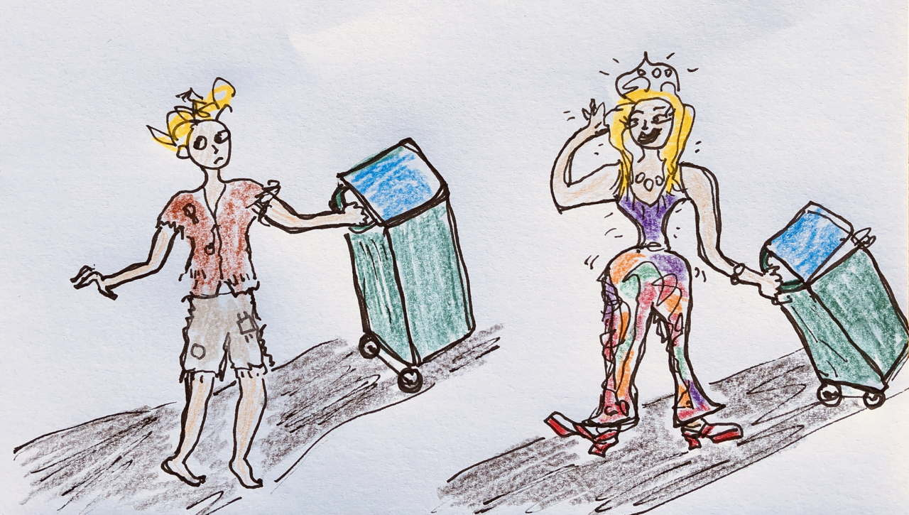 Drawing. Woman putting out the bin in ragged pajamas and in glorious 1970s bling.
