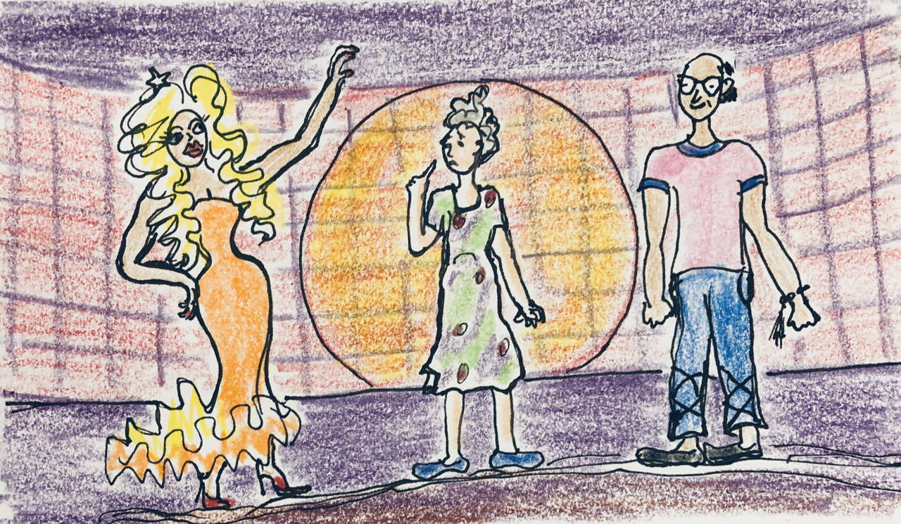 drawing of man, same man in drag, and bewildered old woman