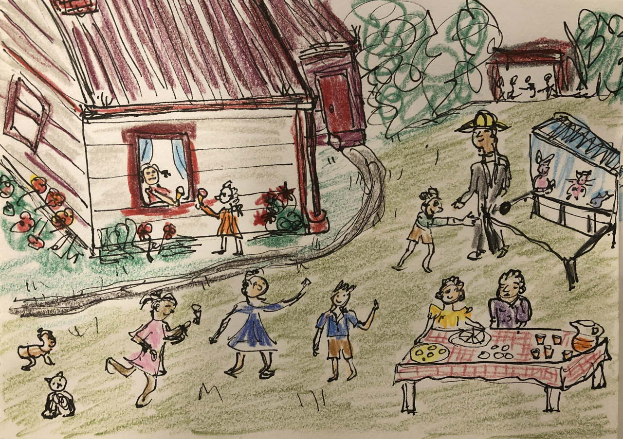 Sketch of vicarage garden party, girl at window being handed two icecreams