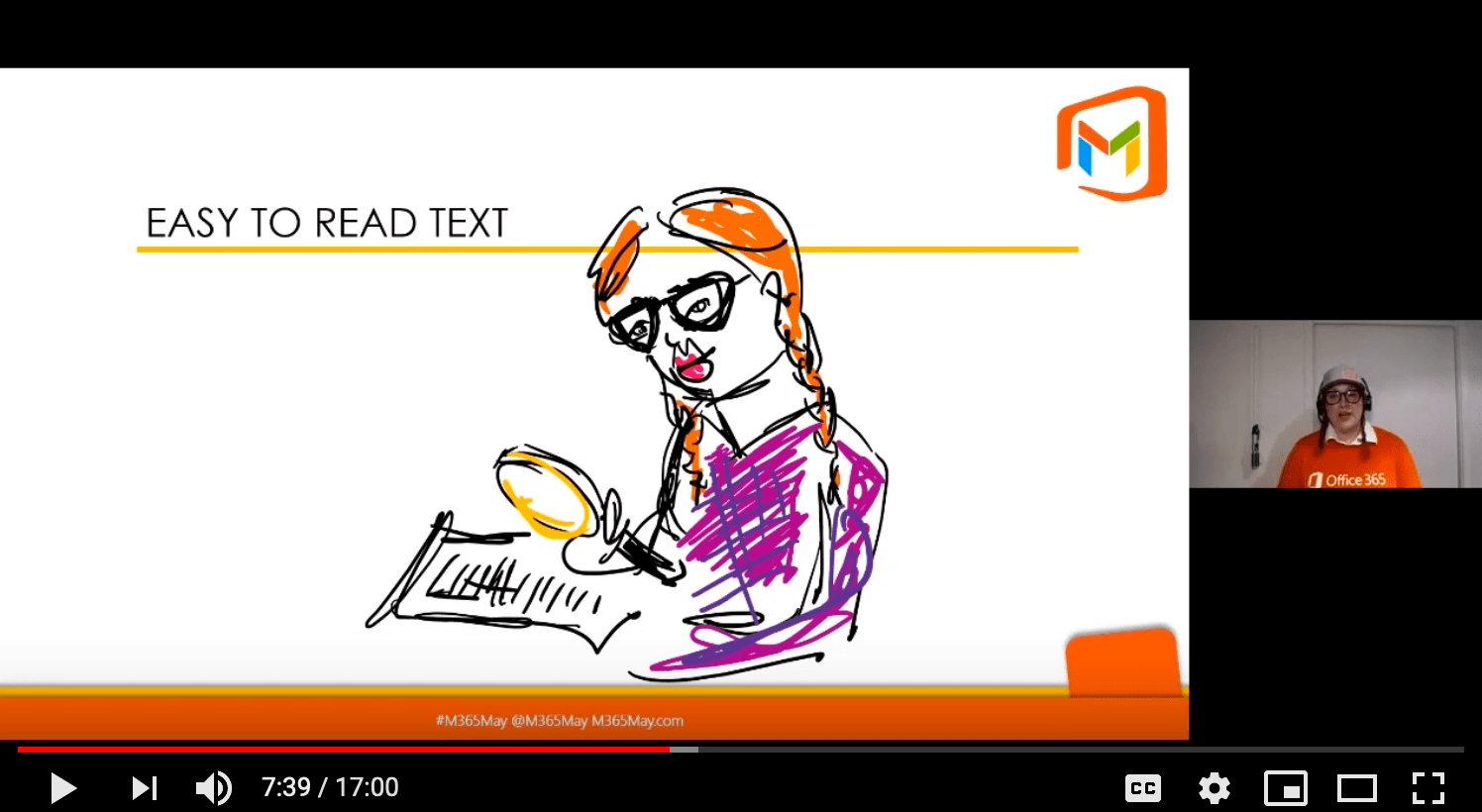 Screenshot. Easy to read text. Pigtailed girl reading with magnifying glass.