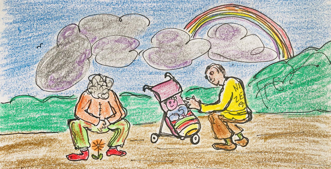 Two old people squatting to appreciate a flower and a baby. Drawing.