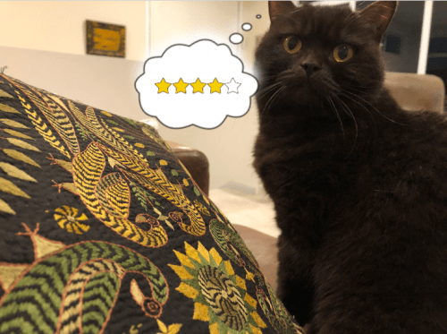 at considers a gold and black embroidered cushion and awards 4 stars