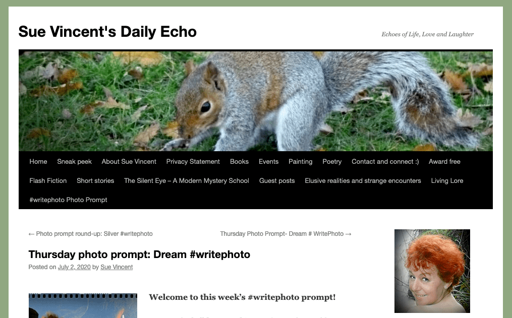screenshot of blog post from Sue VIncent's Daily Echo with photo of squirrel and of red haired blogger Sue Vincent