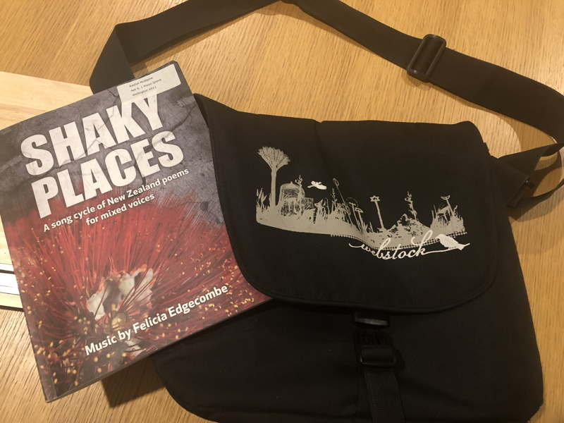 Old Webstock bag and book, Shaky Places, a song cycle of New Zealand poems for mixed voices, Music by Felicia Edgecombe