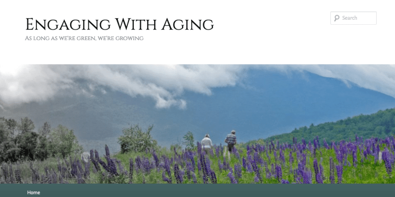 Two old people walking through field of lupins. Header for blog Engaging with Aging.