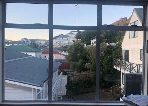 Wellington street scene through a window