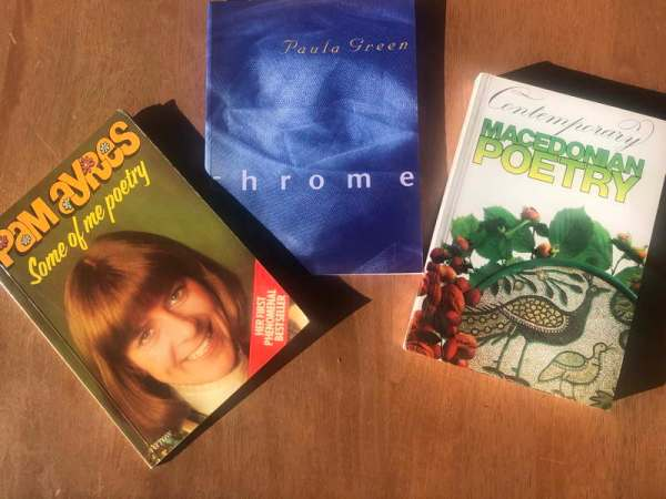 Three poetry books: Some of me poetry by Pam Ayres, Chrome by Paula Green and Contemporary Macedonian Poetry